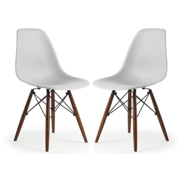 Poly and Bark Vortex Side Chair Walnut Legs in Harbor Grey (Set of 2)