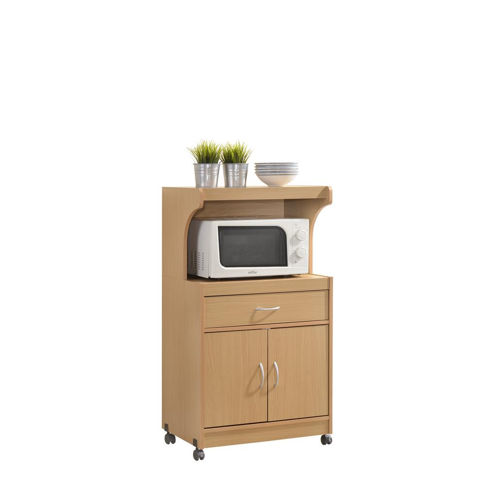 Microwave Cart Beech 1 Drawer Kitchen Storage Stand Shelf