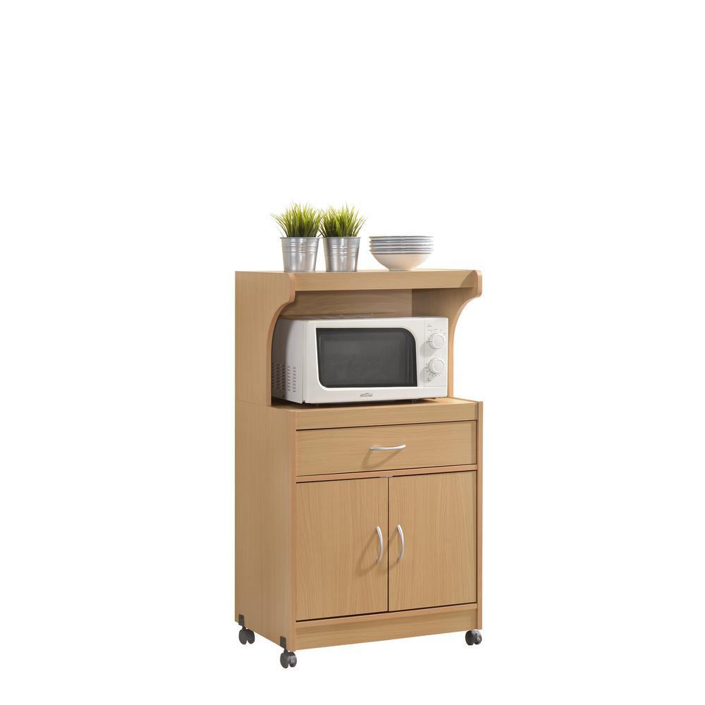 Hodedah 1-Drawer Beech Microwave Cart HIK72 BEECH