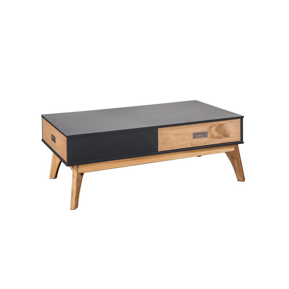 Jackie 1 0 2 drawer dark grey and natural wood coffee table