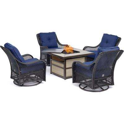 Orleans 5-Piece Wicker Patio Seating Set with Navy Blue Cushions and Fire Pit
