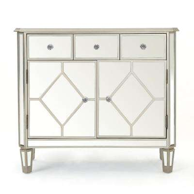 Torin Silver Faux Wood Accent Cabinet with Mirrored Panels