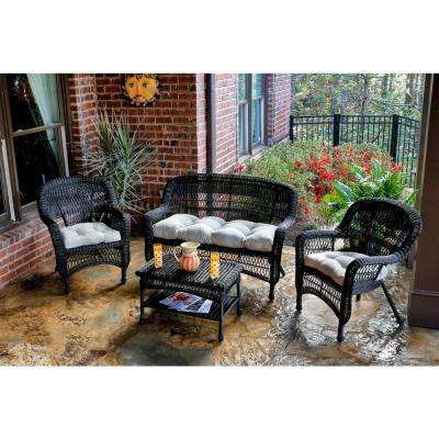 Portside Dark Roast 4-Piece Wicker Patio Seating Set with Sand Cushions