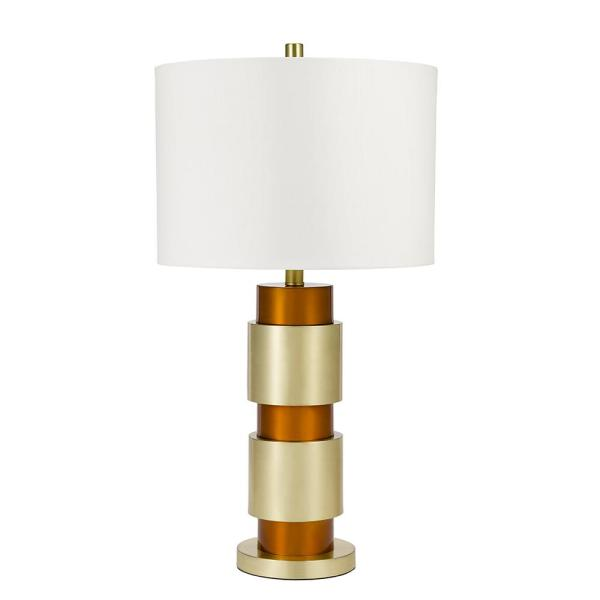 Cresswell 28 In Brass And Copper Mid Century Modern Geometric Table Lamp And Led Bulb Bm1367 02 The Home Depot