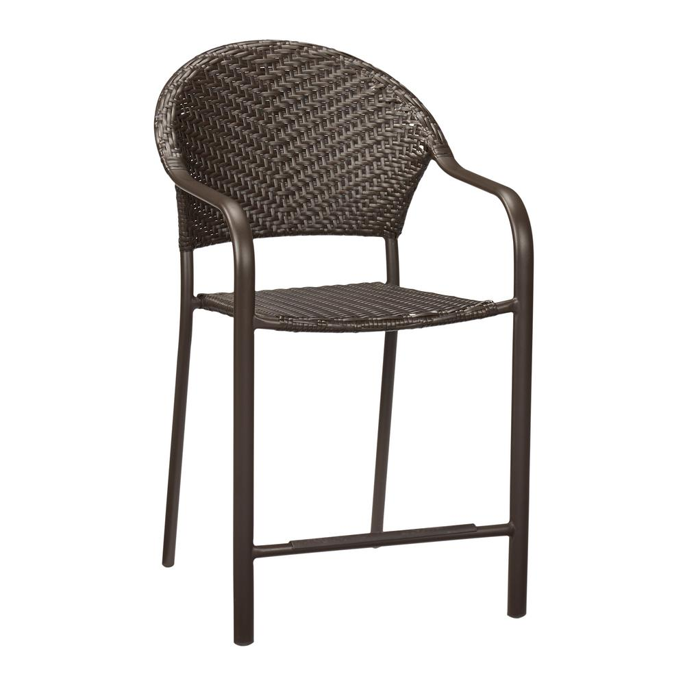 Hampton Bay Mix And Match Stackable Balcony Height Wicker Outdoor Bistro  Dining Chair In Brown