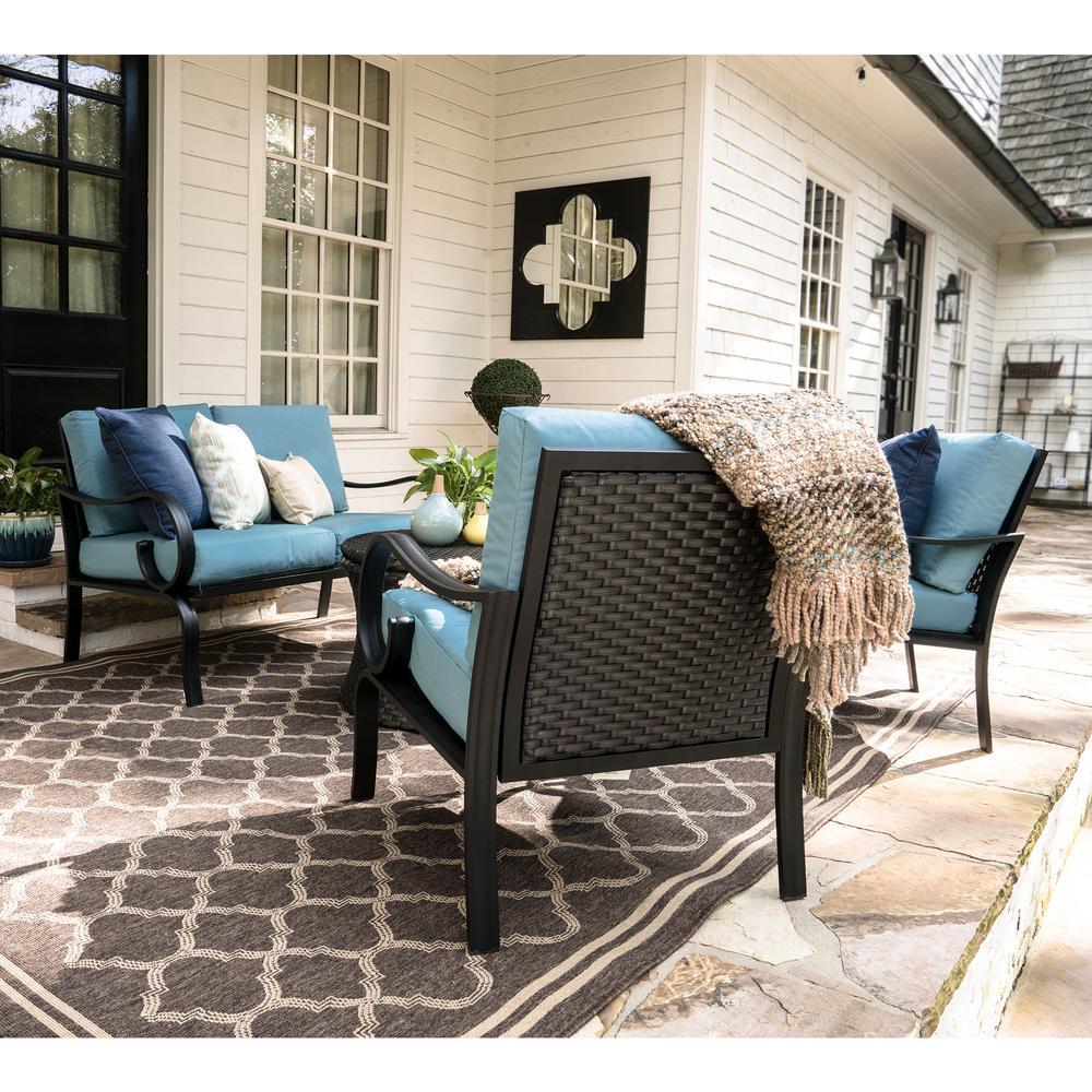 High Quality Savannah 4 Piece Wicker Patio Conversation Set With Spa Blue Cushions