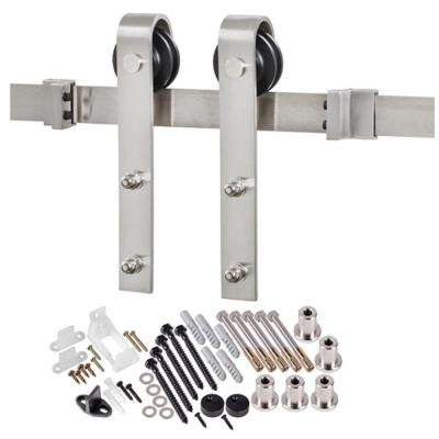 78-3/4 in. Stainless Steel Bent Strap Barn Door Hardware Kit