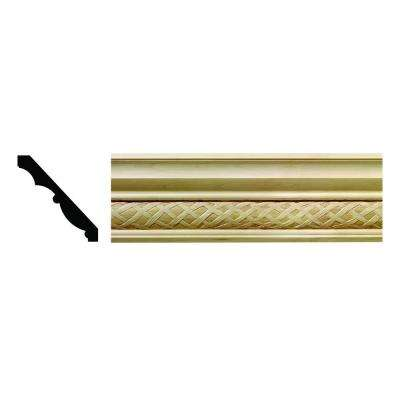 1616 1/2 in. x 3-3/4 in. x 6 in. Hardwood White Unfinished Loose Weave Crown Moulding Sample