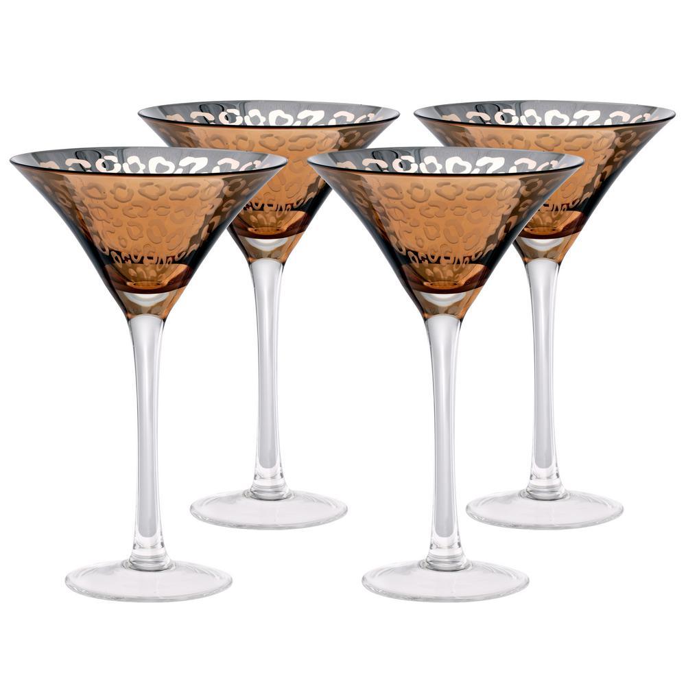 8 oz. Leopard Design Gold Martini Glass (Set of 4)