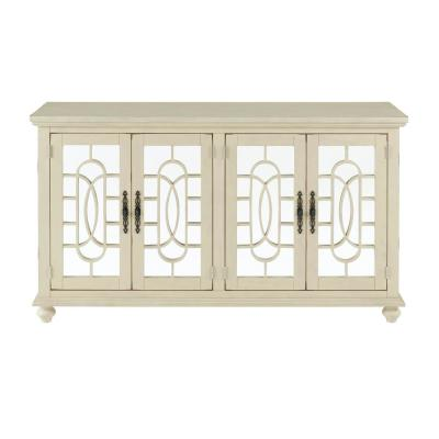 Orleans Antique White Wood TV Stand Fits 65 in. with Mirrored Doors