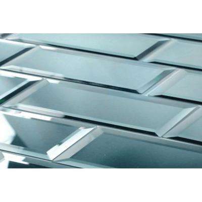 Reflections Peel and Stick Graphite Blue Beveled Subway 3 in. x 12 in Glass Mirror Wall Tile (1 sq. ft.)