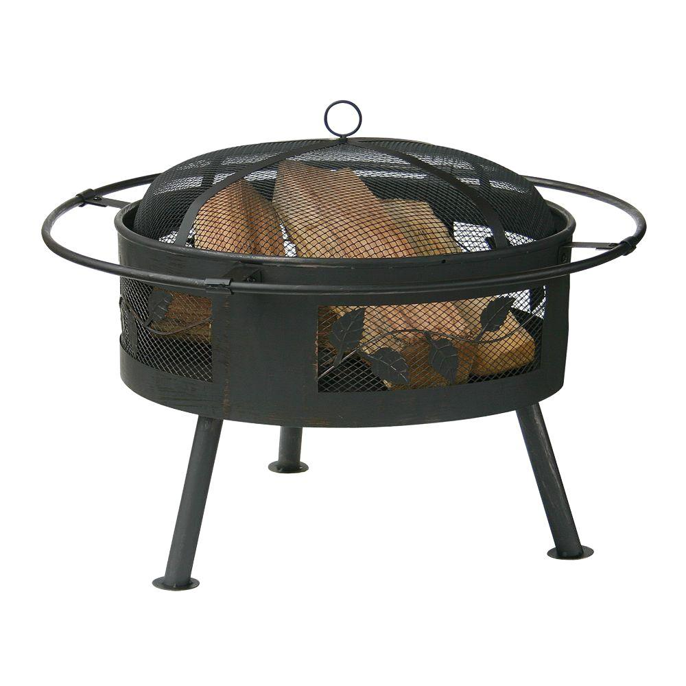 UniFlame 21 in. D Aged Bronze  Wood Burning Fire Pit with Decorative Leaf and Vine Design