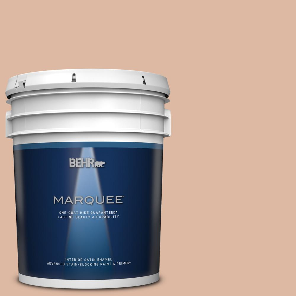 Behr Marquee 5 Gal Ecc 60 1 Coral Bay Satin Enamel Interior Paint And Primer In One 745005 The Home Depot