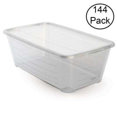 5.5 Qt. Rectangular Clear Protective Storage Shoe Box (144-Pack)