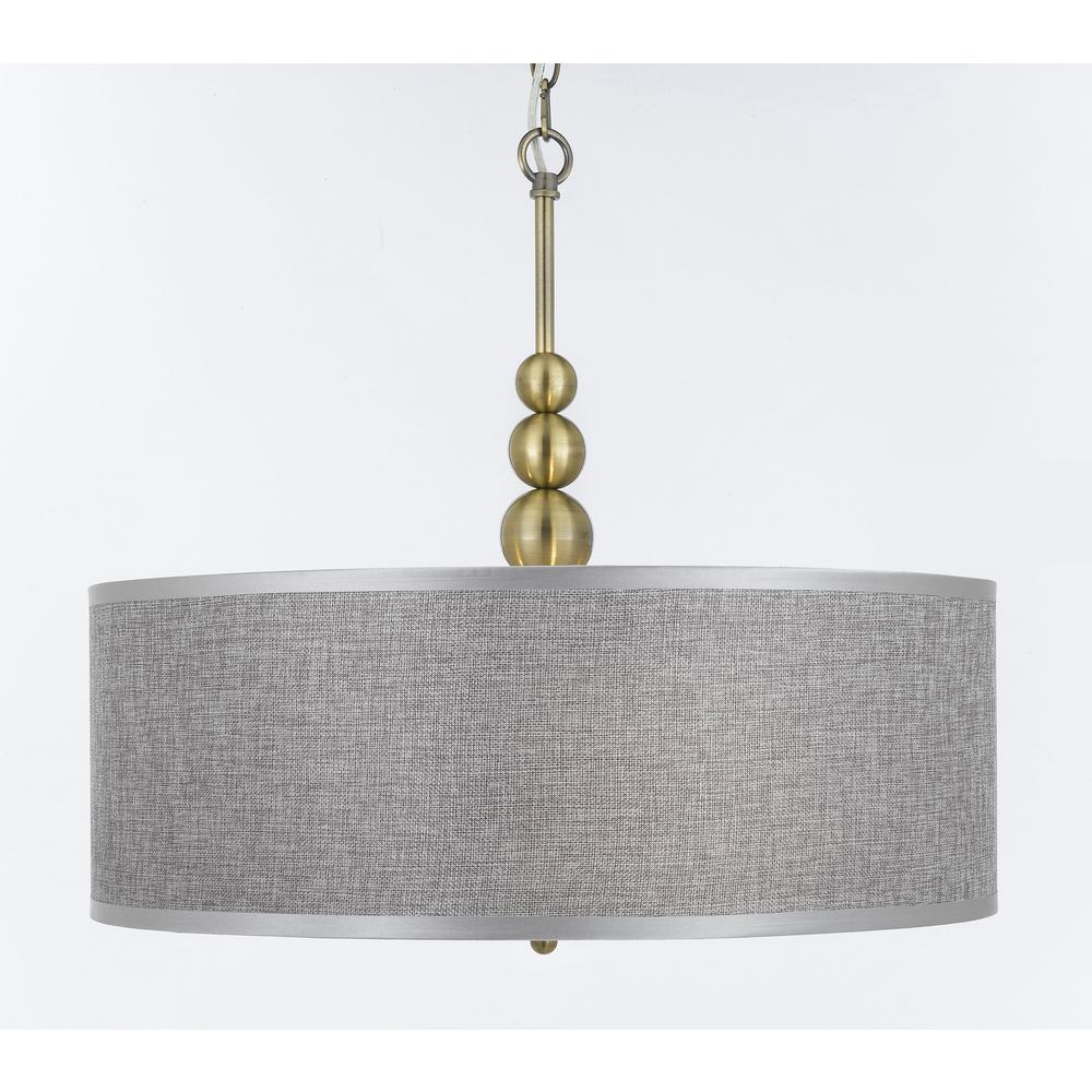 Modern 3 Light Gold Chandelier Pendant With Drum Shade