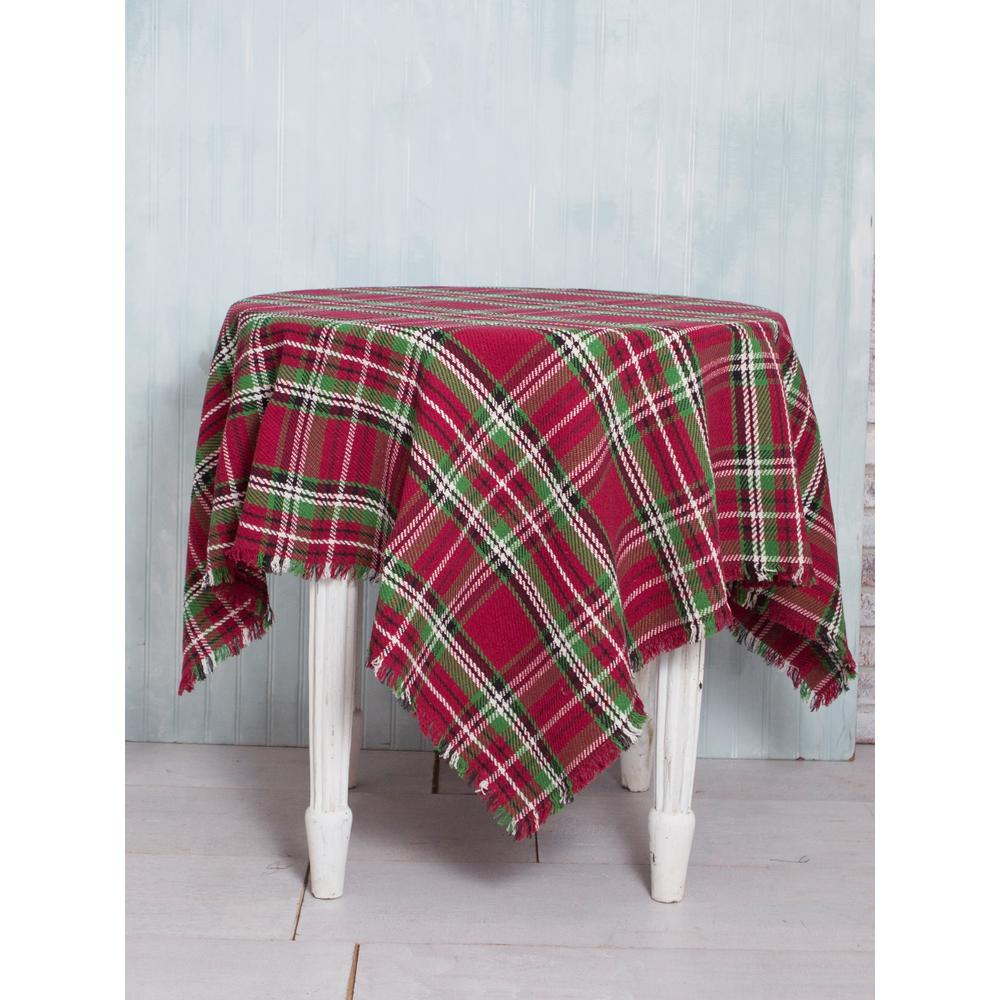 60 in. x 108 in. Merry Christmas Tartan Plaid Tablecloth