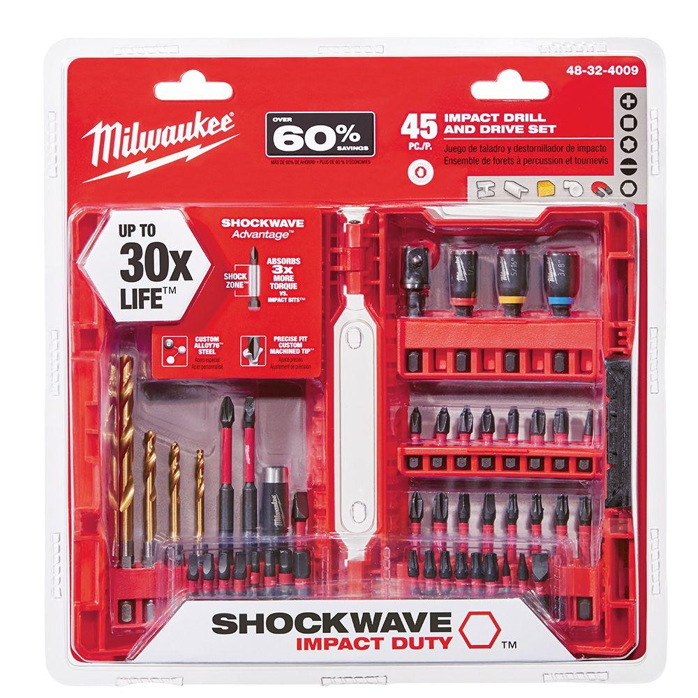milwaukee shockwave impact duty steel drill and driver set 45 pieces 48 32 4009 the home depot. Black Bedroom Furniture Sets. Home Design Ideas