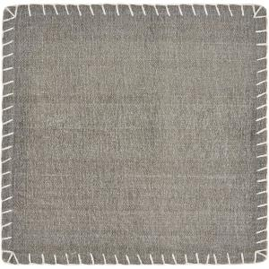 Neutral 15 in. x 15 in. Gray Embroidered Edge Square Cotton Placemat (Set of 4)