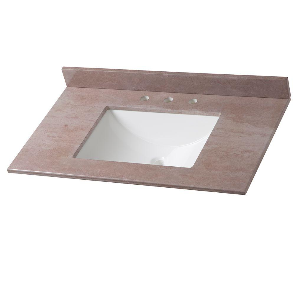 Home Decorators Collection 37 in. Stone Effects Vanity Top in Kaiser Grey with White Basin