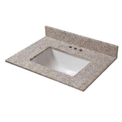 25 in. W x 22 in. D Granite Vanity Top in Golden Hill with White Trough Basin