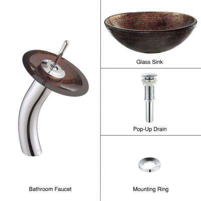Illusion Glass Vessel Sink in Brown with Single Hole Single-Handle Low-Arc Waterfall Faucet in Chrome