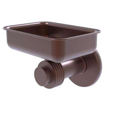 Mercury Collection Wall Mounted Soap Dish with Groovy Accents in Antique Copper