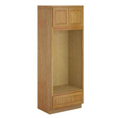 Madison Assembled 33x90x24 in. Pantry/Utility Double Oven Cabinet in Warm Oak