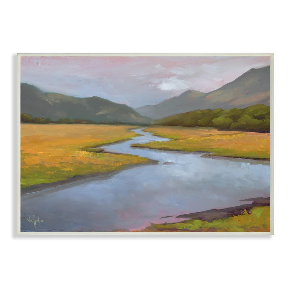 12 In X 18 In Gentle Meadow Stream Through The Mountains Painting Wall Plaque Art By Penny Lane Publishing