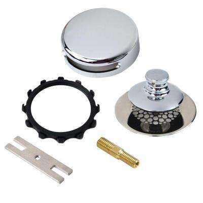 Universal NuFit Push Pull Bathtub Stopper with Grid Strainer, Combo Pin Kit in Chrome Plated