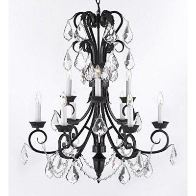 Empress 9-Light Black Candle-Style Chandelier with Crystal