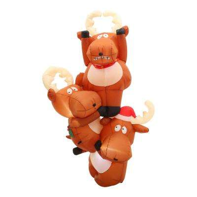51.18 in. D x 29.53 in. W x 90.16 in. H Inflatable Reindeers Hanging From Roof