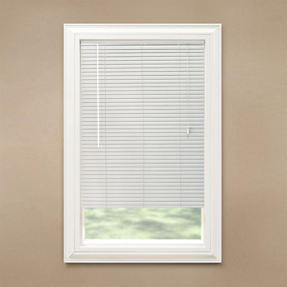 vinyl mini blinds hampton bay white 1 3 8 in room darkening vinyl mini 29411
