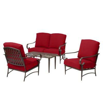 Oak Cliff Brown 4-Piece Steel Outdoor Patio Conversation Seating Set with CushionGuard Chili Red Cushions
