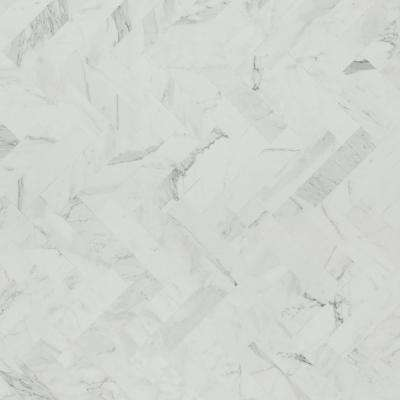 5 in. x 7 in. Laminate Countertop Sample in White Marble Herringbone with Matte Finish