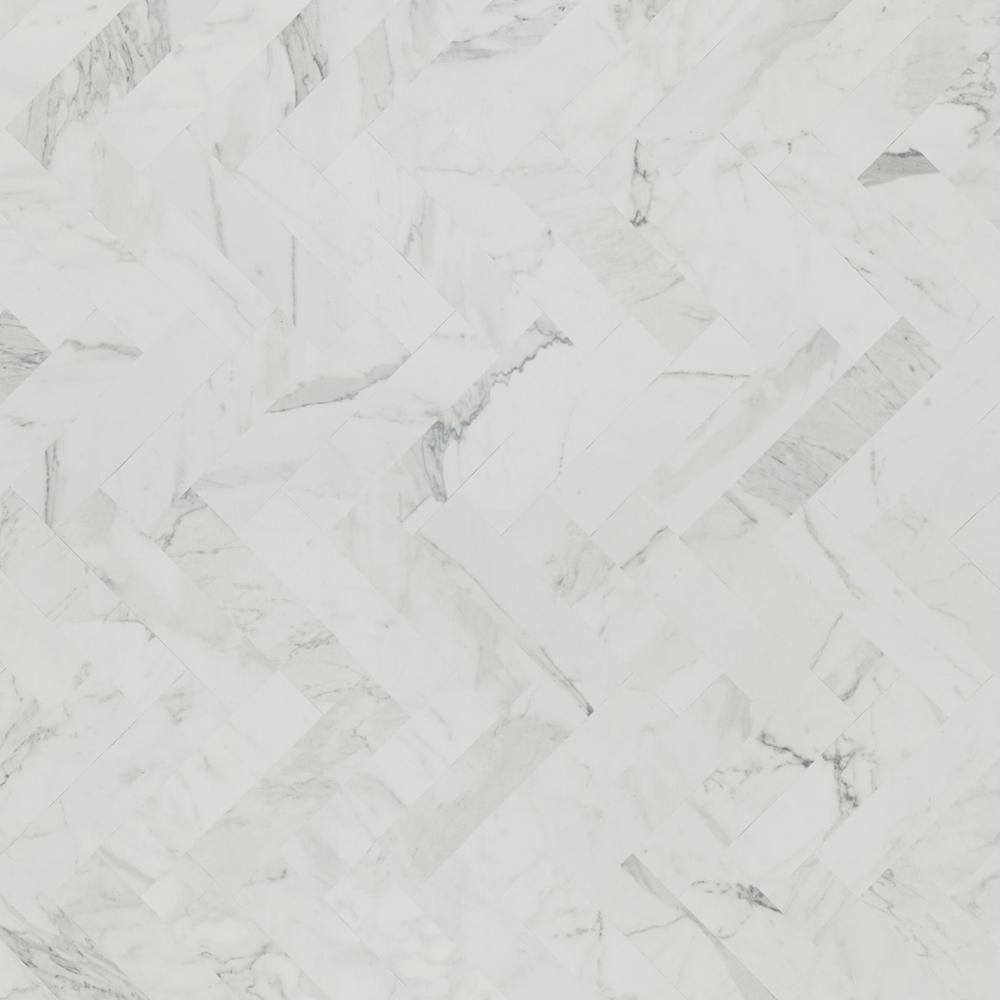 4 ft. x 8 ft. Laminate Sheet in White Marble Herringbone