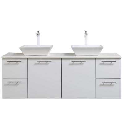 Luxury 60 in. W x 21 in. D Vanity in White with Wood Vanity Top in White with White Basin