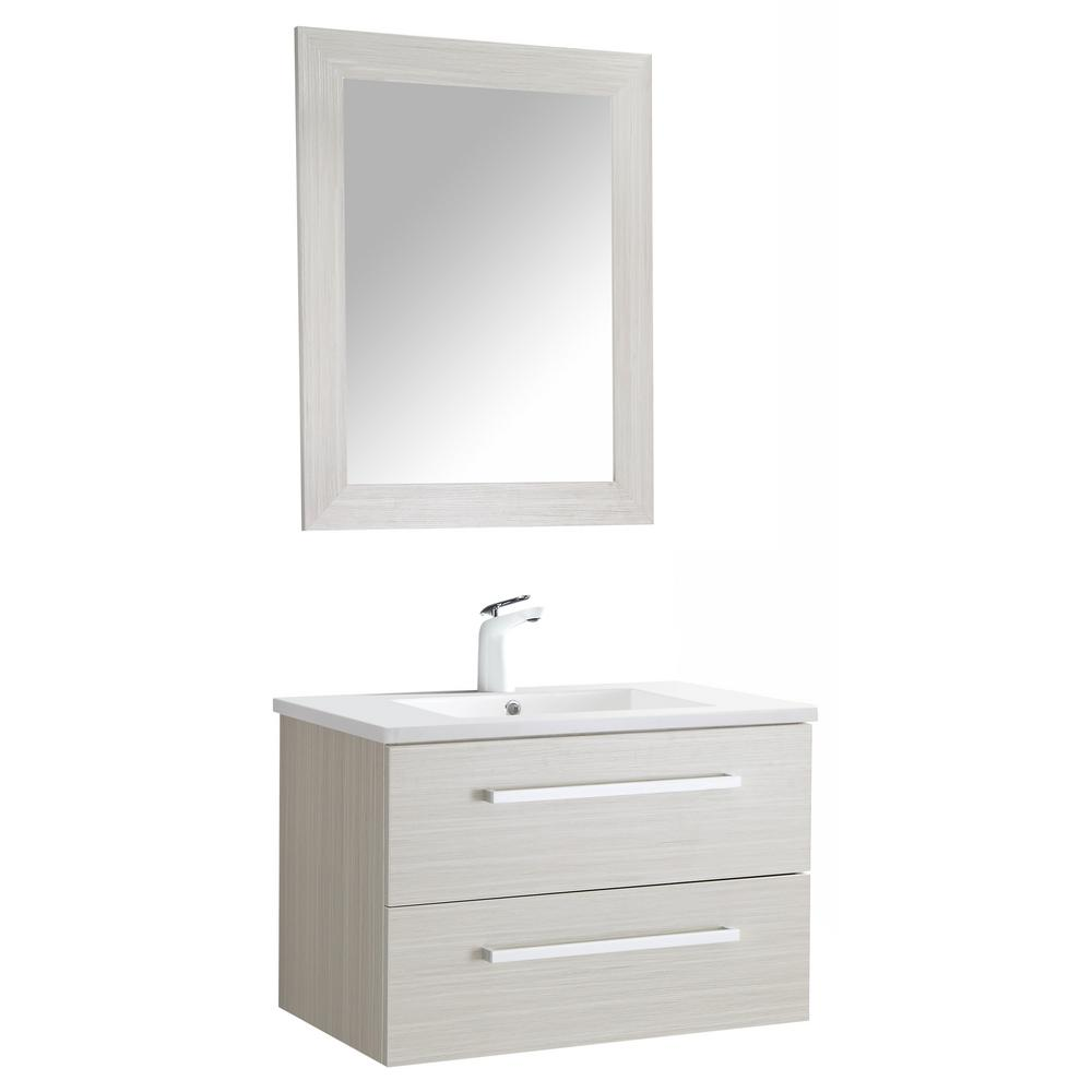 ANZZI Conques 30 in. W x 20 in. H Bath Vanity in Rich White with Ceramic Vanity Top in White with White Basin and Mirror