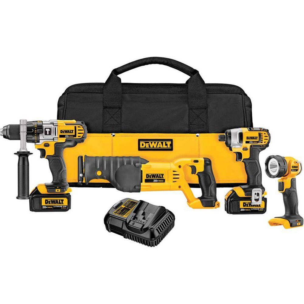 20-Volt MAX Lithium-Ion Cordless Combo Kit (4-Tool) with (2) Batteries 3.0Ah,