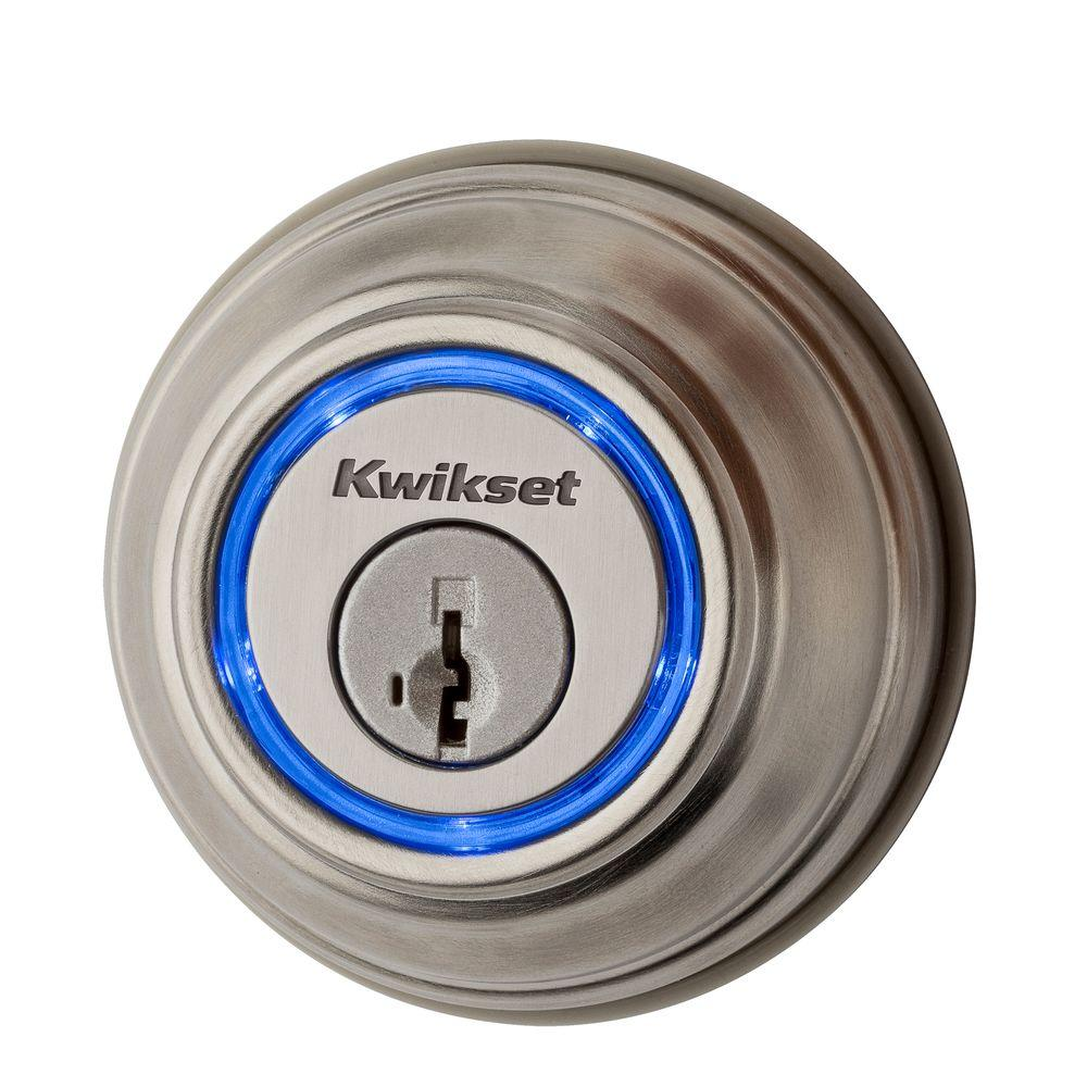 Kwikset Kevo 2nd Gen Satin Nickel Single Cylinder Touch To Open Bluetooth Smart Lock Deadbolt Works With Many Smart Devices 925 Kevo2 Db 15 The Home Depot