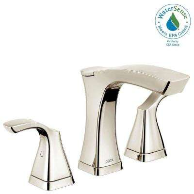 Tesla 8 in. Widespread 2-Handle Bathroom Faucet with Metal Drain Assembly in Polished Nickel