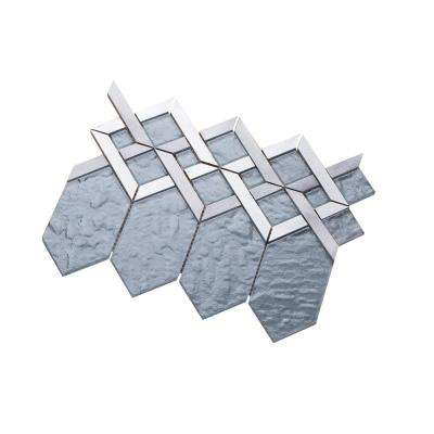 Hexa/02 Slate Gray Glass Coupled with Silver and Gray Aluminum 12.72 in. x 10.24 in. Wall Tile (11 sq. ft. per Box)