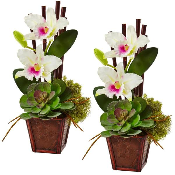 Nearly Natural 14.75 in. Cattleya Orchid and Succulent Arrangement in White