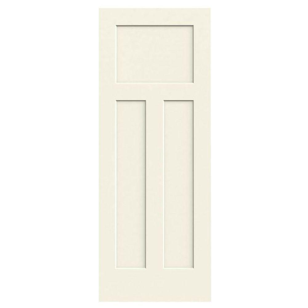 24 in. x 80 in. Craftsman Vanilla Painted Smooth Solid Core