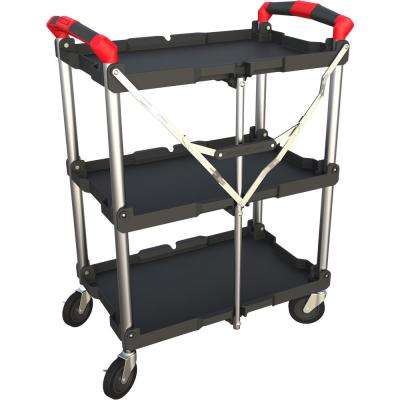 223fe9012786 3-Shelf Collapsible 4-Wheeled Resin Multi-Purpose Utility Cart in Black/Red