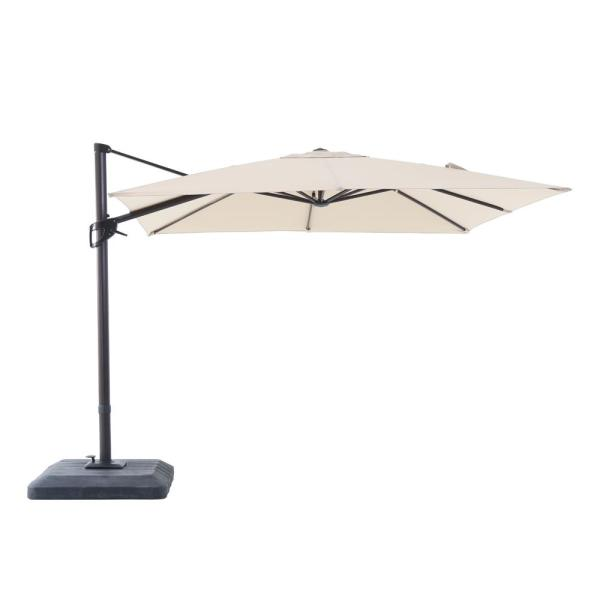 Hampton Bay 10 ft. x 10 ft. Commercial Aluminum Square Offset Cantilever Outdoor Patio Umbrella in Cafe Tan