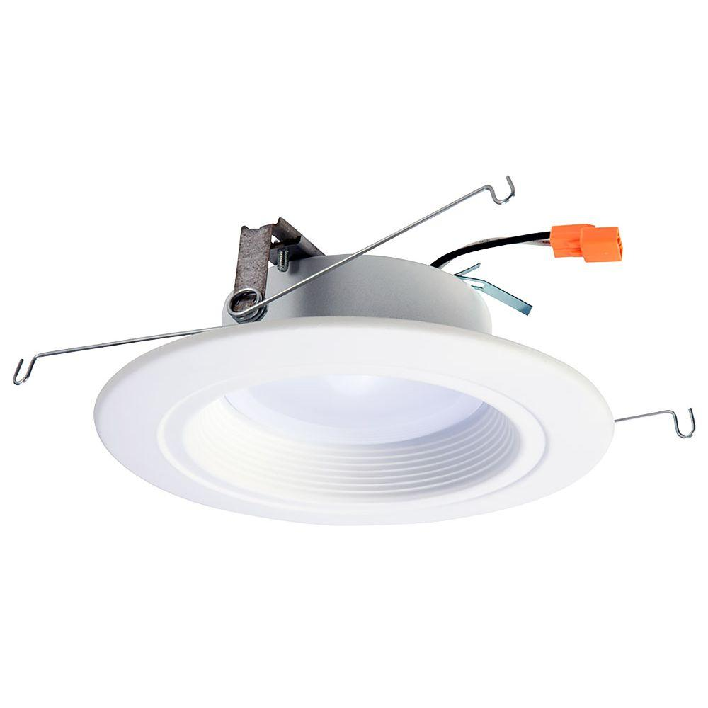 Halo rl 5 in and 6 in white integrated led recessed ceiling white integrated led recessed ceiling light fixture retrofit downlight at 90 cri 5000k daylight rl560wh6950r the home depot mozeypictures Choice Image