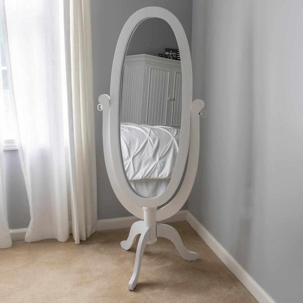 Caroline Cheval Oval White Floor Mirror