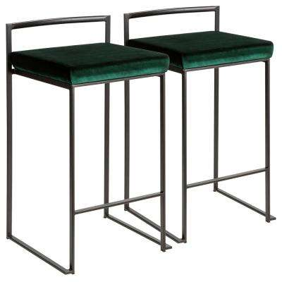 Fuji 26 in. Black Stackable Counter Stool with Green Velvet Cushion (Set of 2)