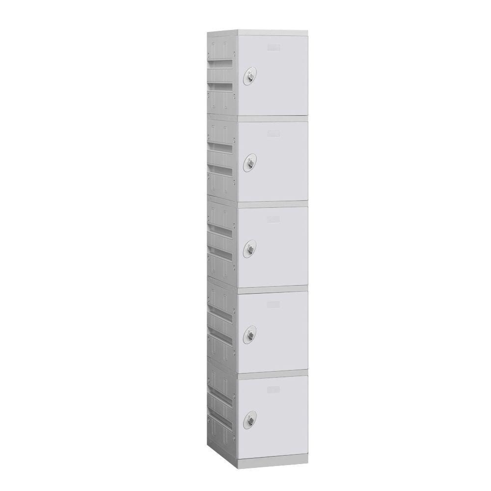 Salsbury Industries 95000 Series 12.75 in. W x 74 in. H x 18 in. D 5-Tier Plastic Lockers Unassembled in Gray