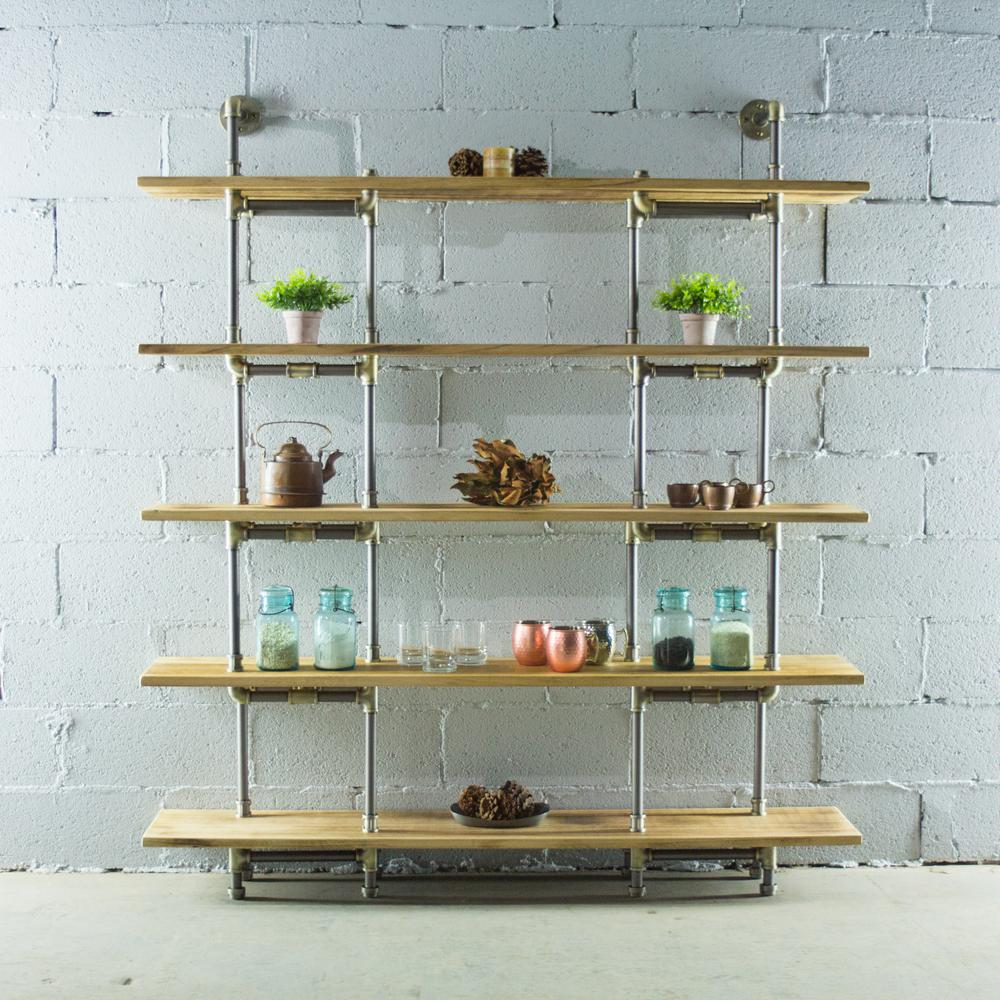 Eugene Modern Industrial, Natural 64 in. Large Storage 5-Shelf Pipe Bookcase